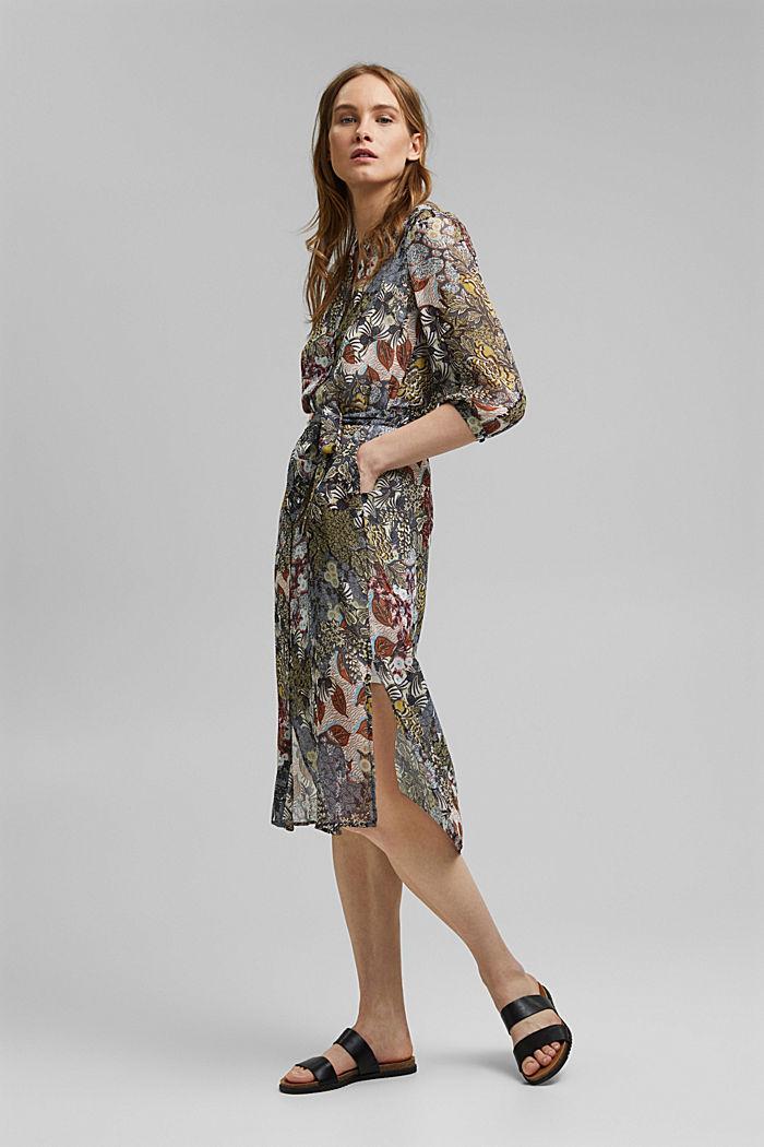 En matière recyclée: la robe chemisier en mousseline ornée d´un imprimé, TURQUOISE, detail image number 1