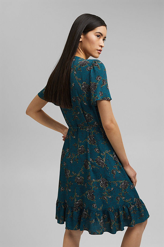 Wrap dress with a print and flounce hem, TURQUOISE, detail image number 2