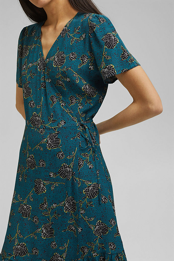 Wrap dress with a print and flounce hem, TURQUOISE, detail image number 3