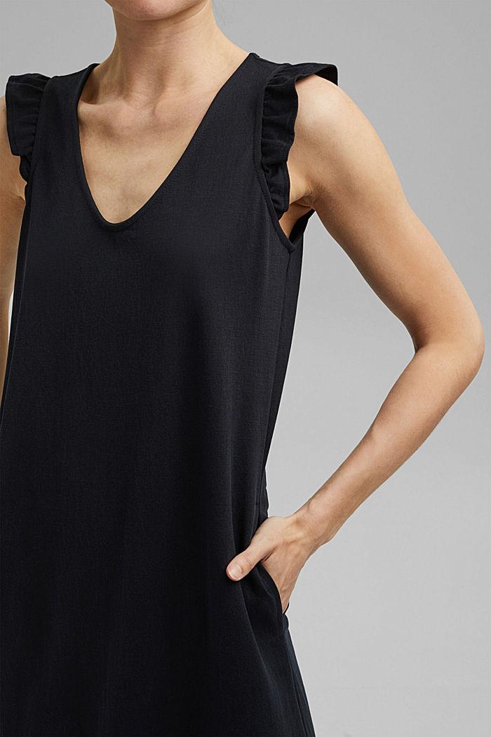 Robe longueur midi à teneur en fibres LENZING™ ECOVERO™, BLACK, detail image number 3