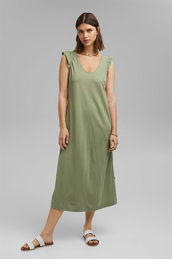Midi jersey dress with LENZING™ ECOVERO™, LIGHT KHAKI, detail image number 0