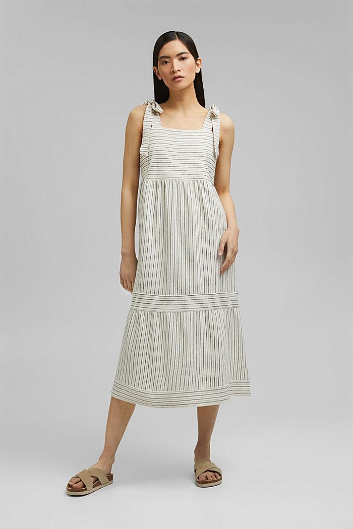 Midi-jurk met strikbandjes van een mix met biologisch katoen, OFF WHITE, detail image number 0