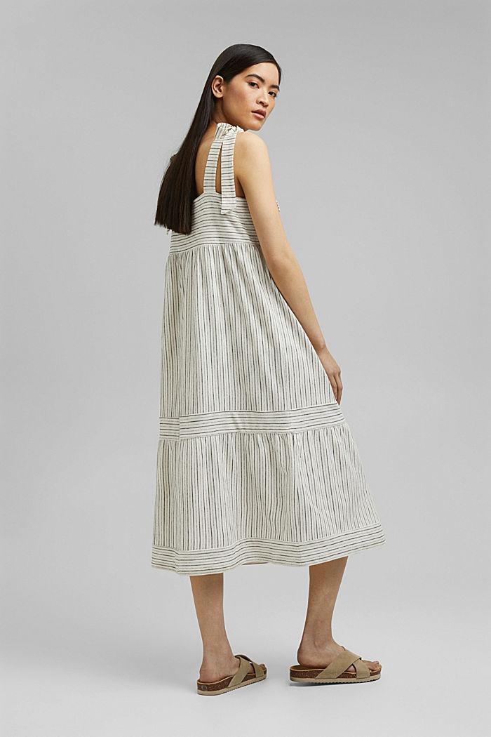 Midi-jurk met strikbandjes van een mix met biologisch katoen, OFF WHITE, detail image number 2