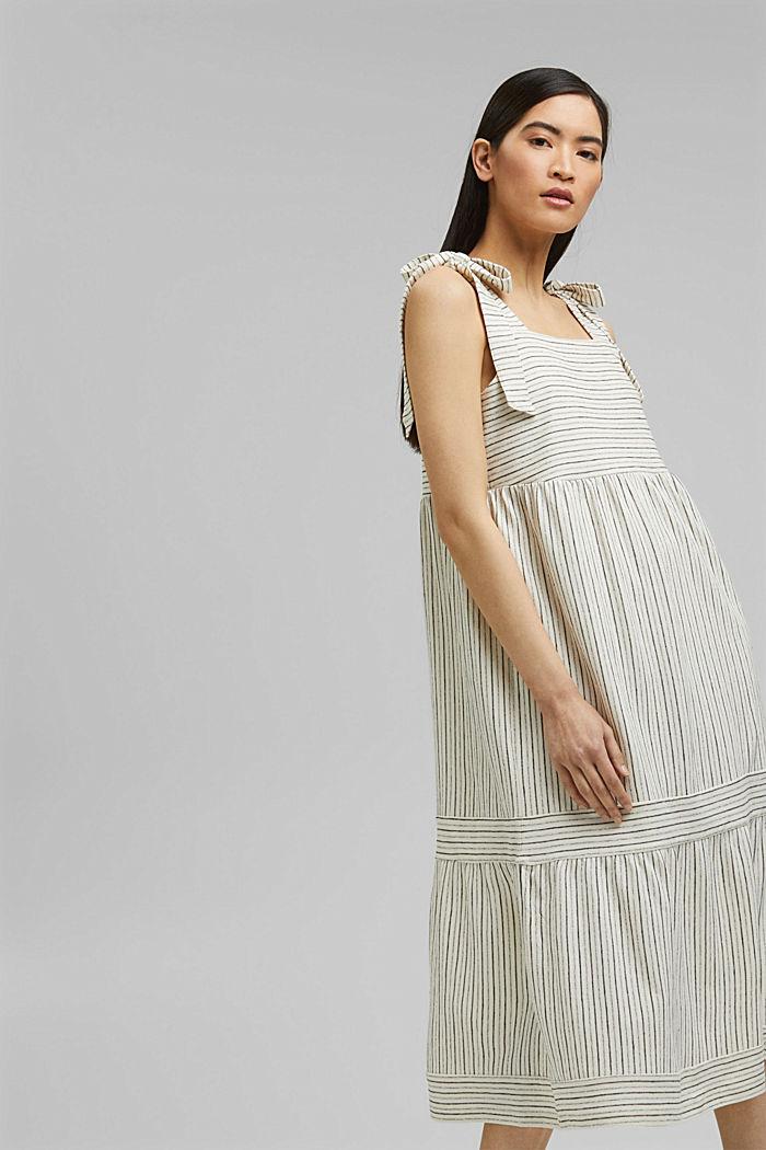 Midi-jurk met strikbandjes van een mix met biologisch katoen, OFF WHITE, detail image number 1