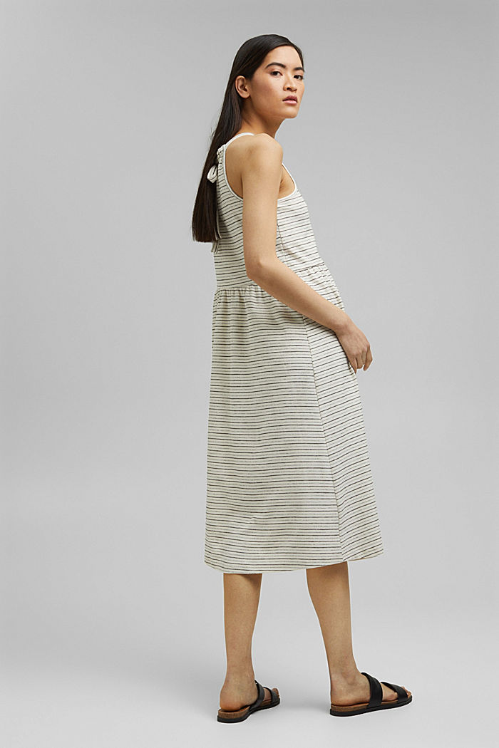 Midi dress with stripes made of an organic cotton blend, OFF WHITE, detail image number 2