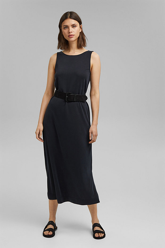 Midi-Jerseykleid mit mattem Schimmer, BLACK, detail image number 1