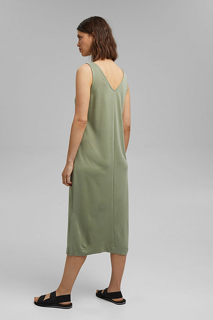 Midi žerzejové šaty s matným leskem, LIGHT KHAKI, detail image number 2