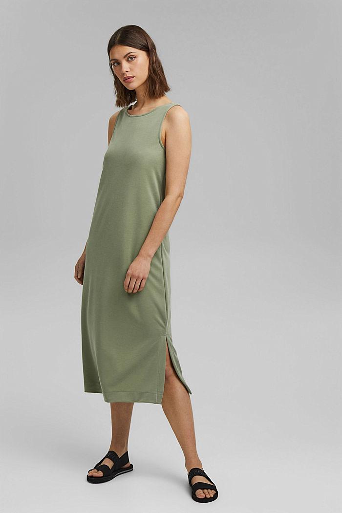 Midi žerzejové šaty s matným leskem, LIGHT KHAKI, detail image number 1