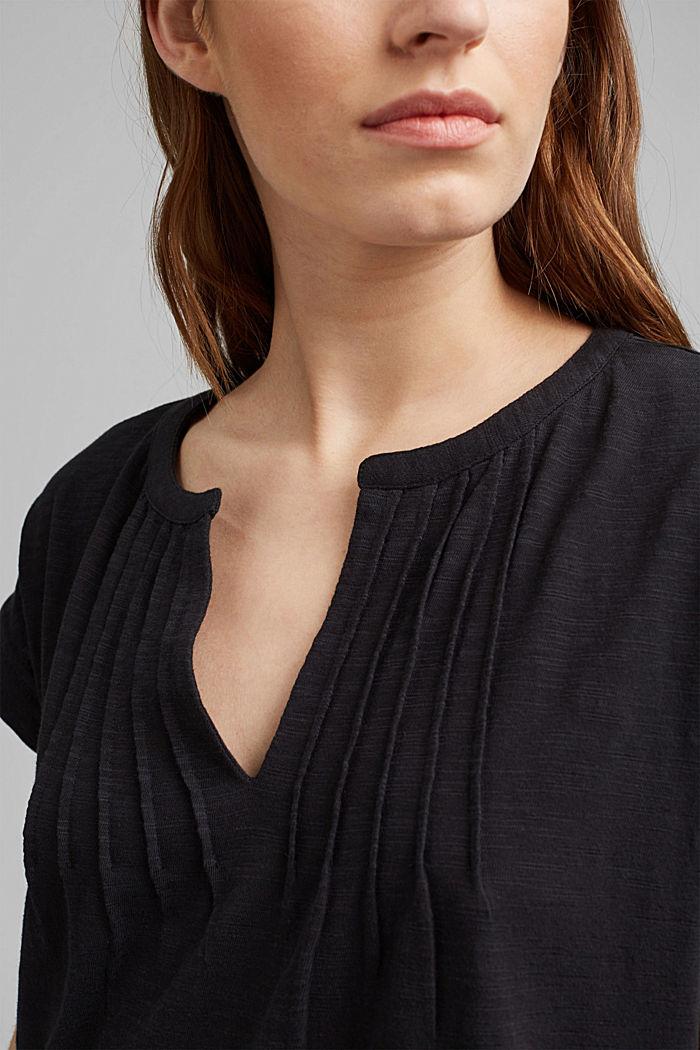 Robe en jersey à nervures, 100% coton biologique, BLACK, detail image number 3