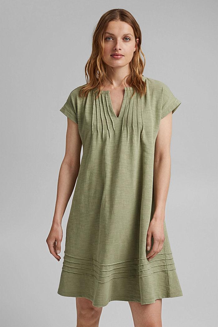 Jersey dress with pintucks, 100% organic cotton, LIGHT KHAKI, detail image number 0