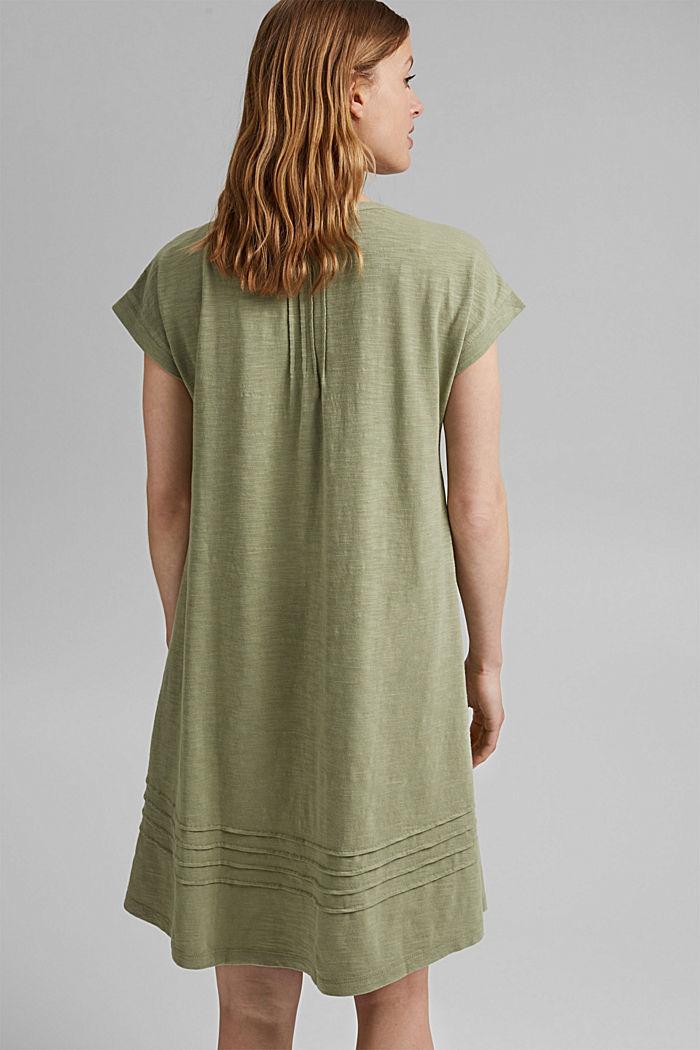 Jersey dress with pintucks, 100% organic cotton, LIGHT KHAKI, detail image number 2