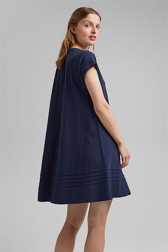 Jersey dress with pintucks, 100% organic cotton, NAVY, detail image number 2