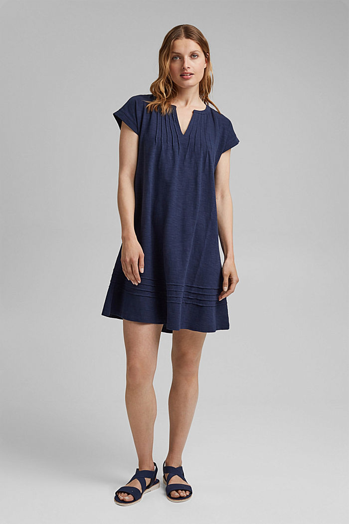 Jersey dress with pintucks, 100% organic cotton, NAVY, detail image number 1
