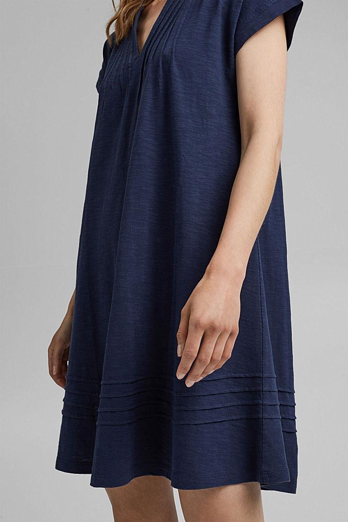 Jersey dress with pintucks, 100% organic cotton, NAVY, detail image number 3