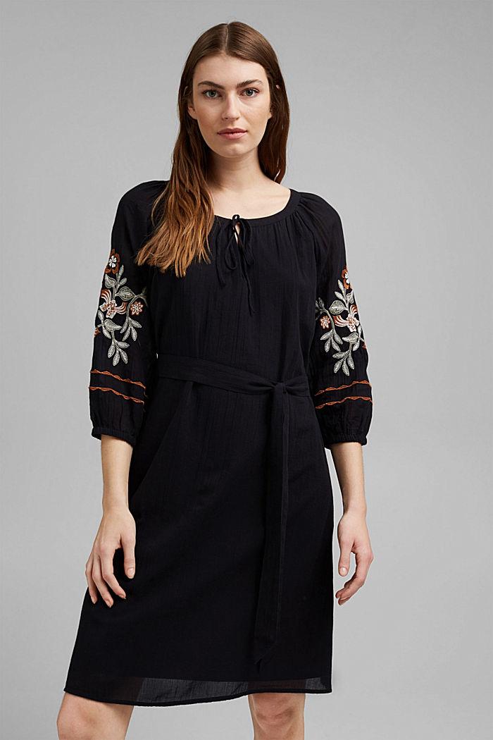 Besticktes Tunika-Kleid, 100% Bio-Baumwolle, BLACK, detail image number 0