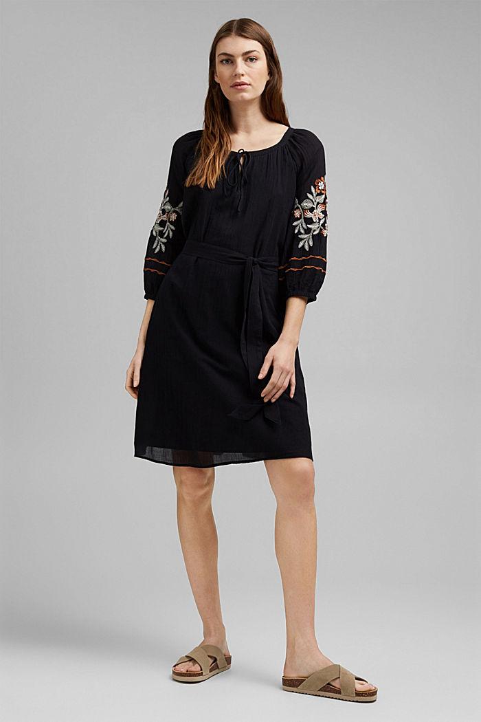 Besticktes Tunika-Kleid, 100% Bio-Baumwolle, BLACK, detail image number 1