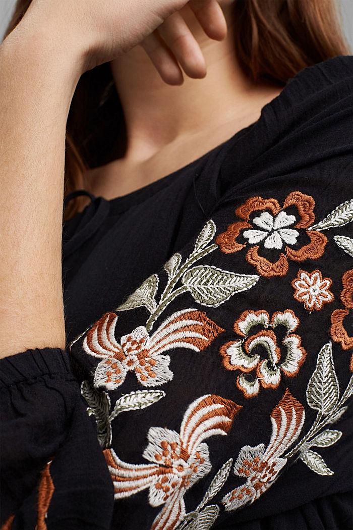 Besticktes Tunika-Kleid, 100% Bio-Baumwolle, BLACK, detail image number 5