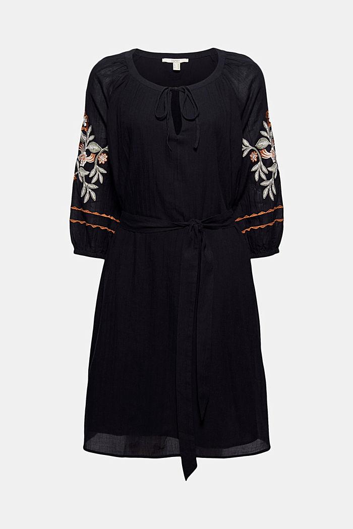 Besticktes Tunika-Kleid, 100% Bio-Baumwolle, BLACK, detail image number 6