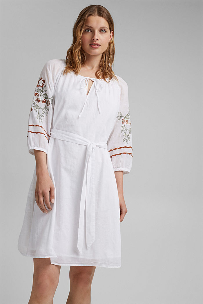 Embroidered tunic dress, 100% organic cotton, WHITE, detail image number 0