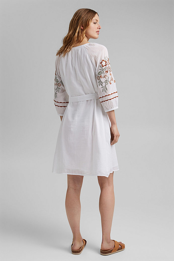 Embroidered tunic dress, 100% organic cotton, WHITE, detail image number 2