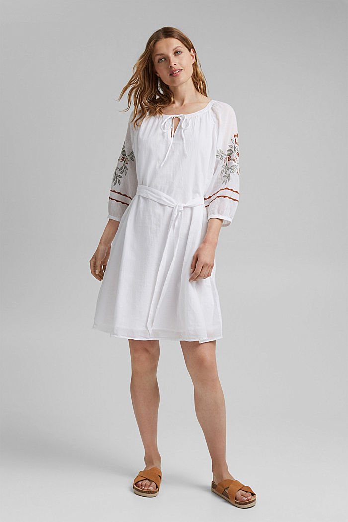 Embroidered tunic dress, 100% organic cotton, WHITE, detail image number 1