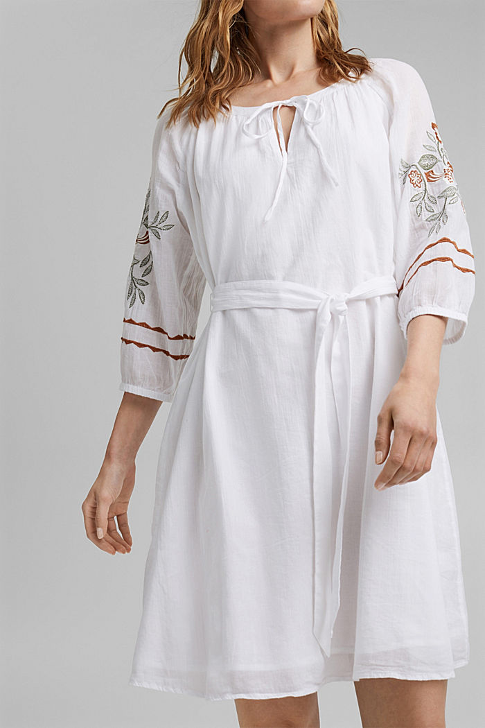 Embroidered tunic dress, 100% organic cotton, WHITE, detail image number 3