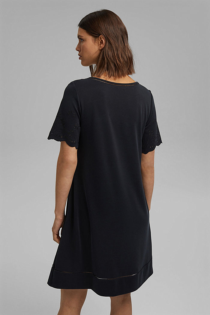 Jersey dress with broderie anglaise, modal blend, BLACK, detail image number 2