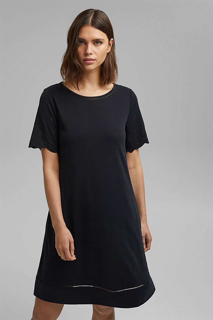 Jersey dress with broderie anglaise, modal blend, BLACK, detail image number 5