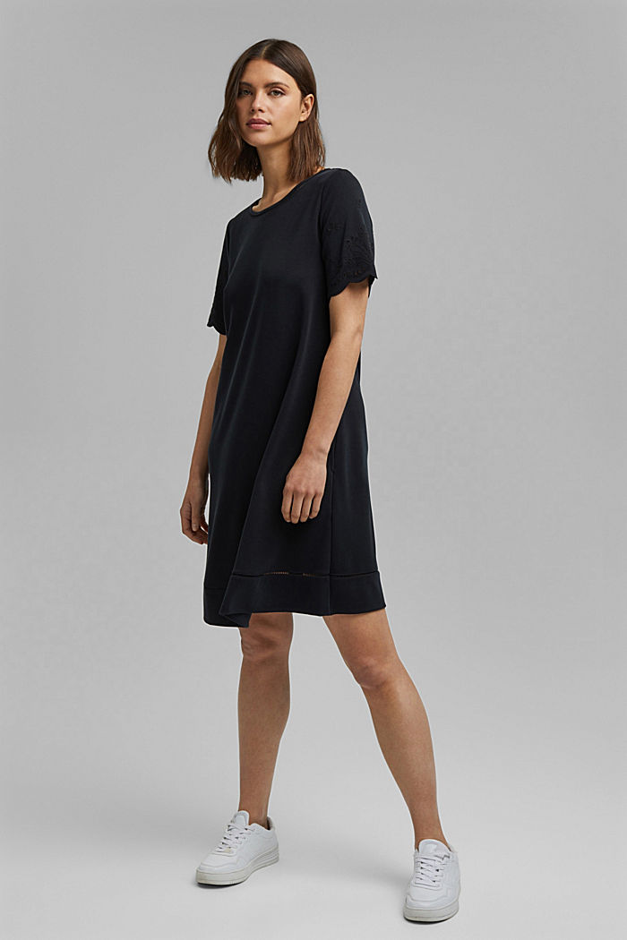 Jersey dress with broderie anglaise, modal blend, BLACK, detail image number 1