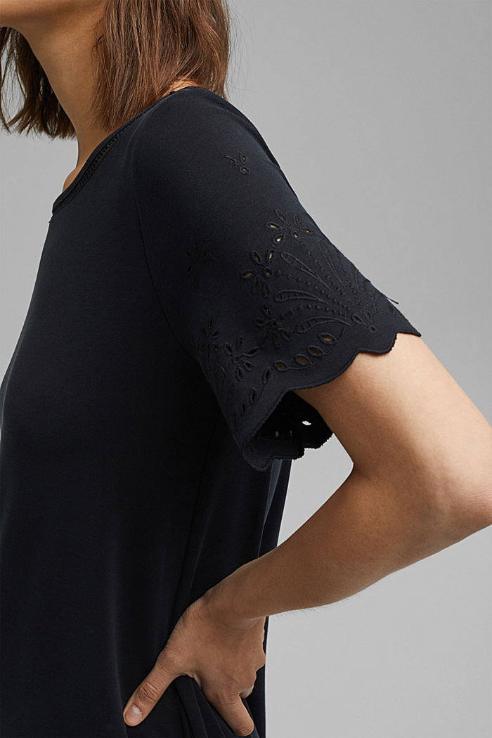 Jersey dress with broderie anglaise, modal blend, BLACK, detail image number 3
