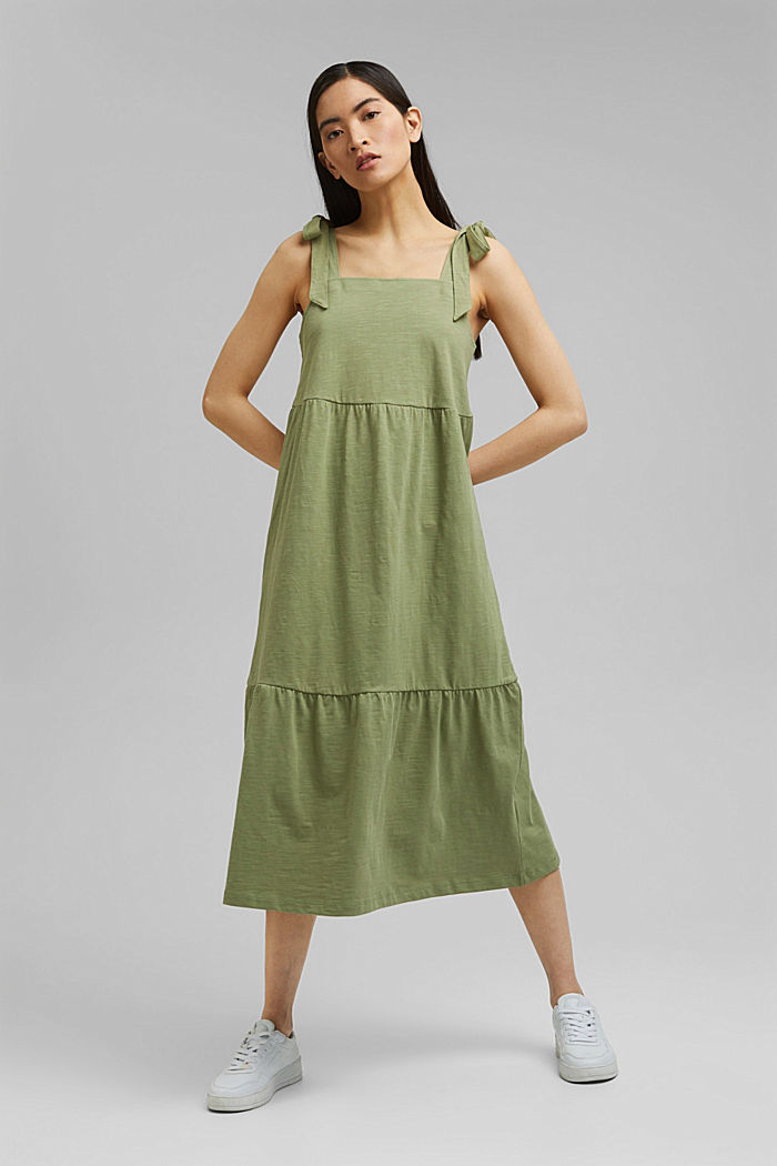 Midiklänning med knytbara axelband, 100% ekobomull