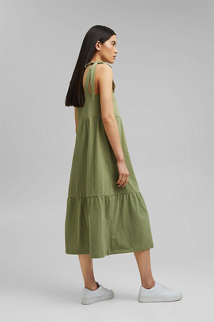 Midi dress with tie straps, 100% organic cotton, LIGHT KHAKI, detail image number 2