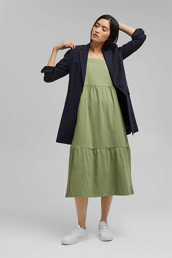Midi dress with tie straps, 100% organic cotton, LIGHT KHAKI, detail image number 1