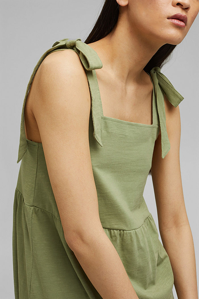 Midi dress with tie straps, 100% organic cotton, LIGHT KHAKI, detail image number 3