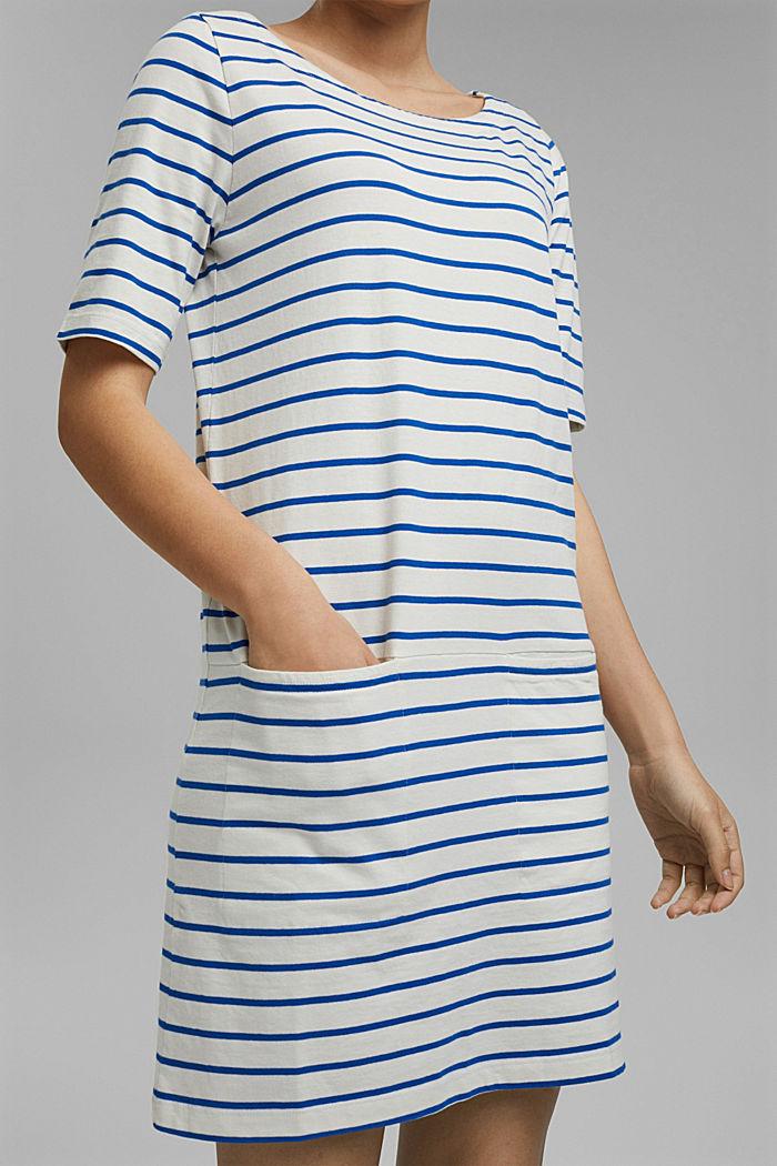 Gestreiftes Jerseykleid aus 100% Bio-Baumwolle, OFF WHITE, detail image number 3