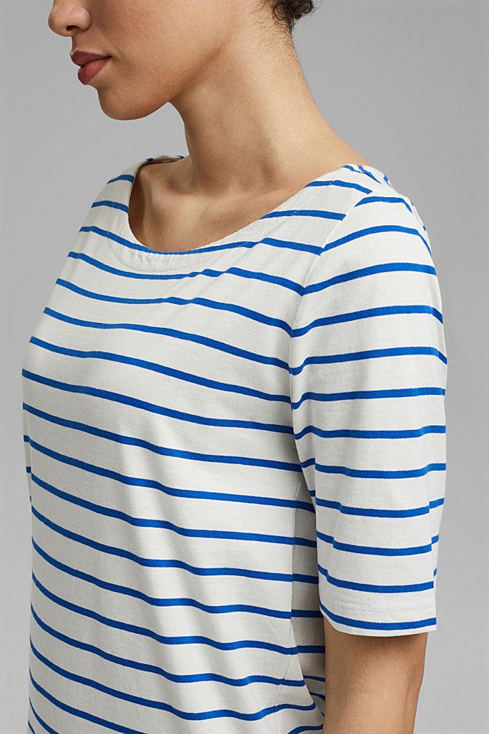 Gestreiftes Jerseykleid aus 100% Bio-Baumwolle, OFF WHITE, detail image number 5