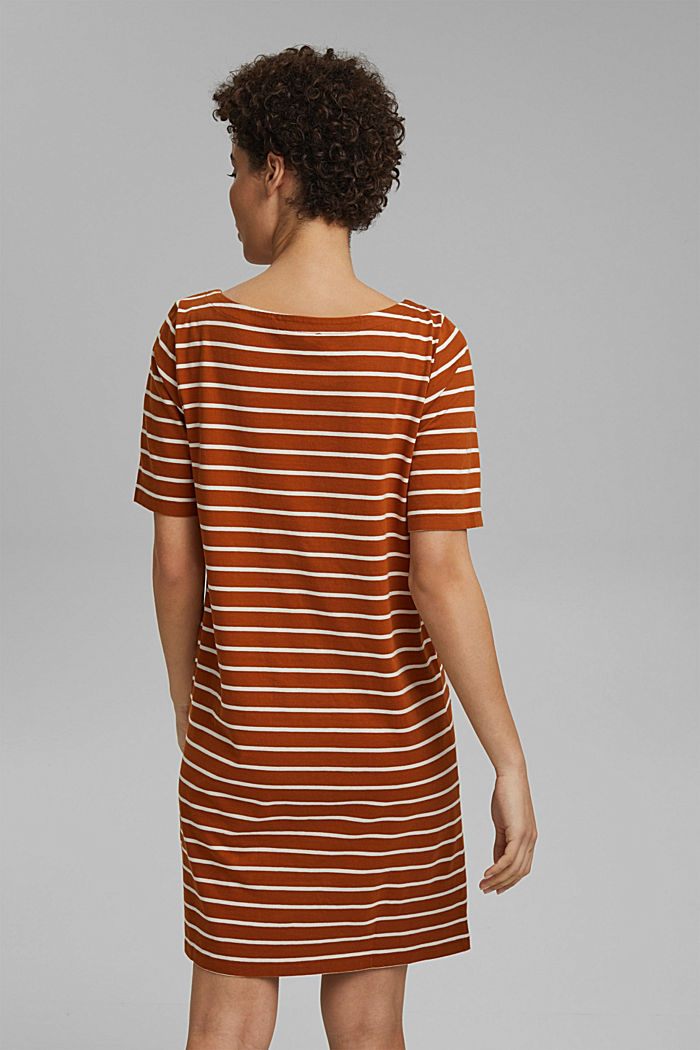 Striped jersey dress made of 100% organic cotton, CARAMEL, detail image number 2