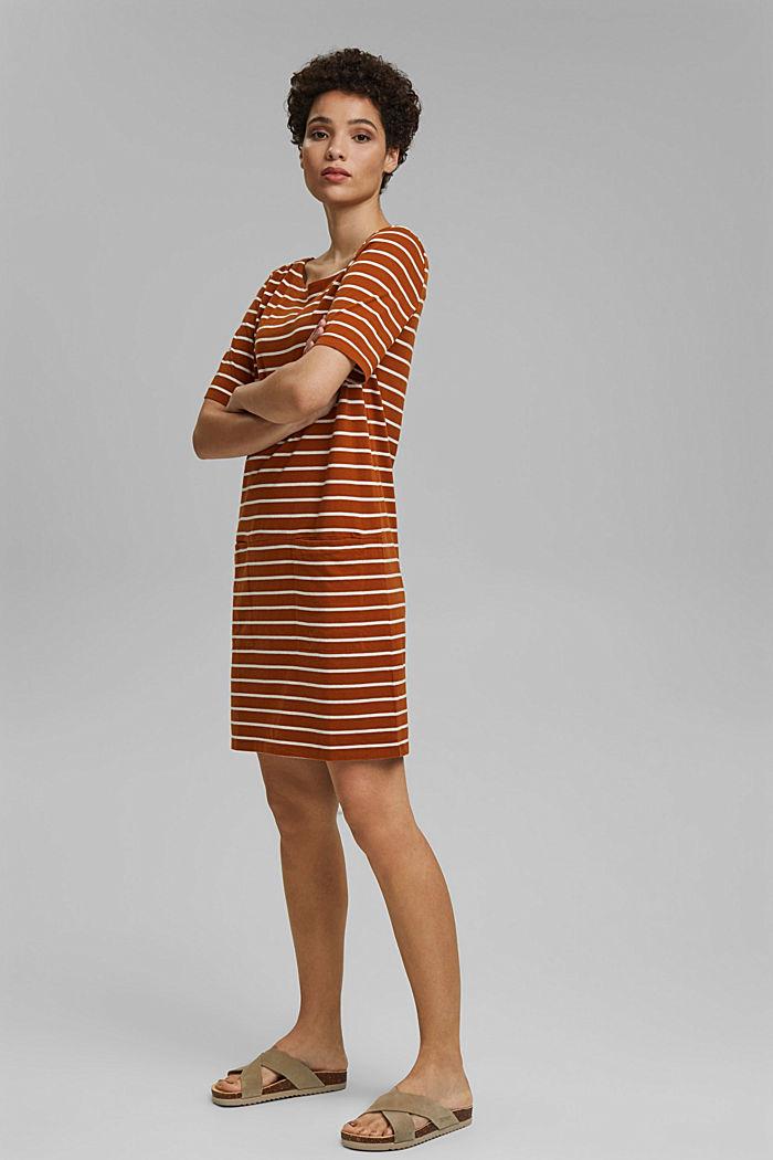 Striped jersey dress made of 100% organic cotton, CARAMEL, detail image number 1