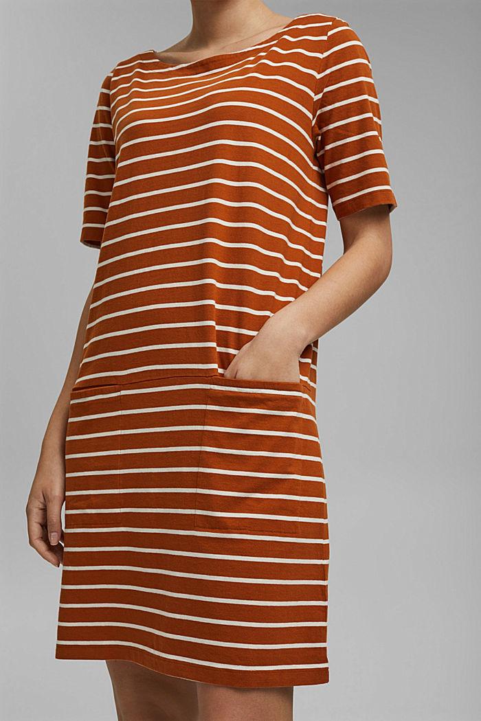 Striped jersey dress made of 100% organic cotton, CARAMEL, detail image number 3
