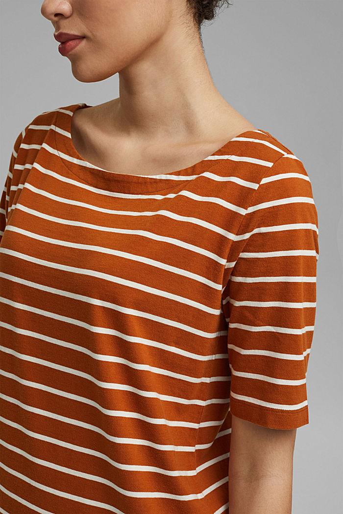 Striped jersey dress made of 100% organic cotton, CARAMEL, detail image number 5