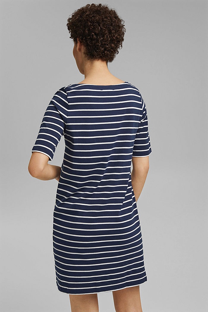 Striped jersey dress made of 100% organic cotton, NAVY, detail image number 2