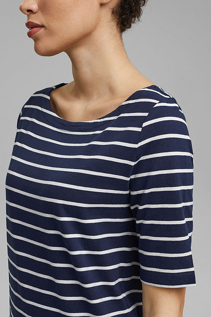 Striped jersey dress made of 100% organic cotton, NAVY, detail image number 3