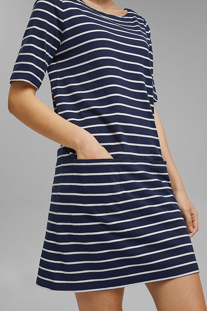 Striped jersey dress made of 100% organic cotton, NAVY, detail image number 6