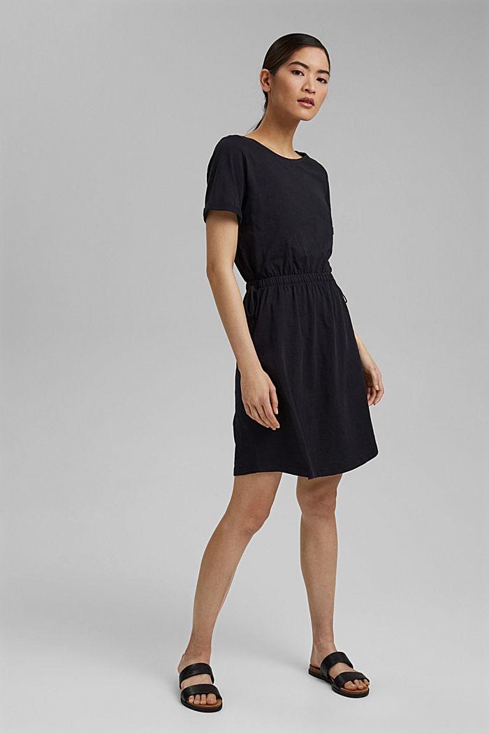 Žerzejové šaty ze 100% bio bavlny, BLACK, detail image number 1