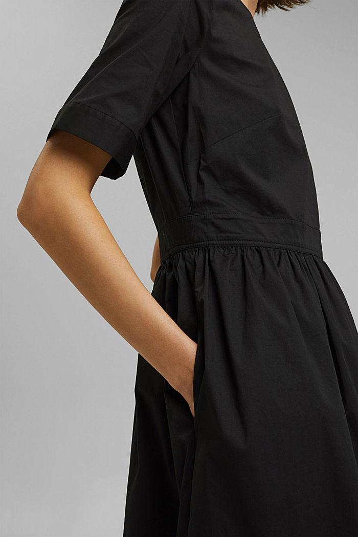 Popeline-Midikleid aus Organic Cotton, BLACK, detail image number 3