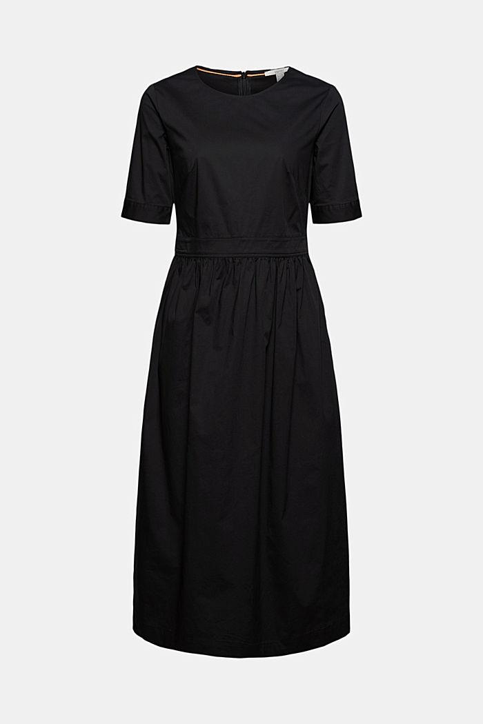 Midiklänning i poplin av ekologisk bomull