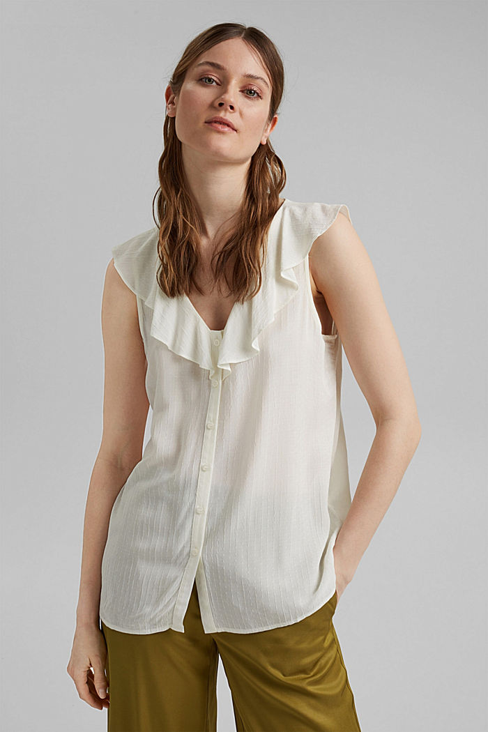 Blouse top with flounce, LENZING™ ECOVERO™, OFF WHITE, detail image number 0