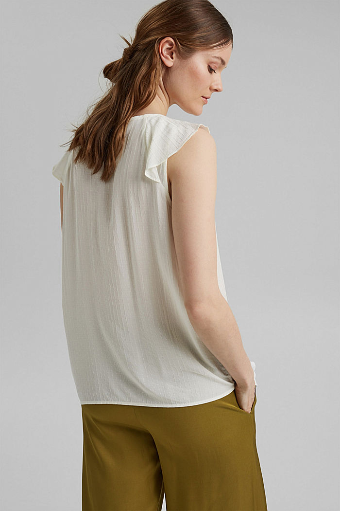 Blouse top with flounce, LENZING™ ECOVERO™, OFF WHITE, detail image number 3