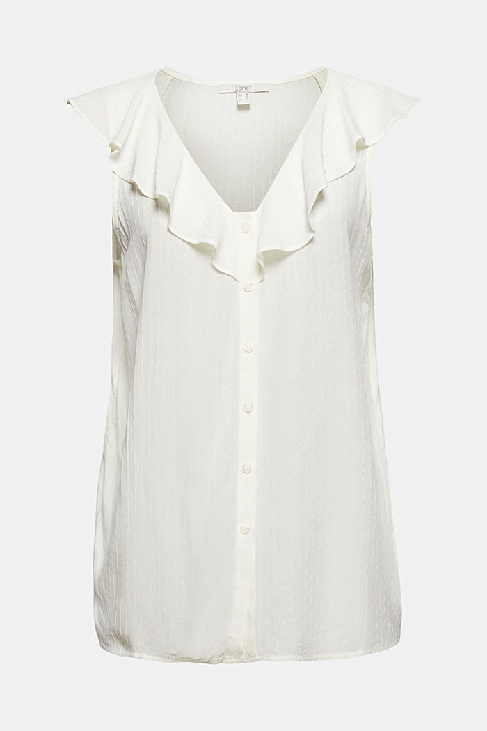 Blouse top with flounce, LENZING™ ECOVERO™, OFF WHITE, detail image number 5