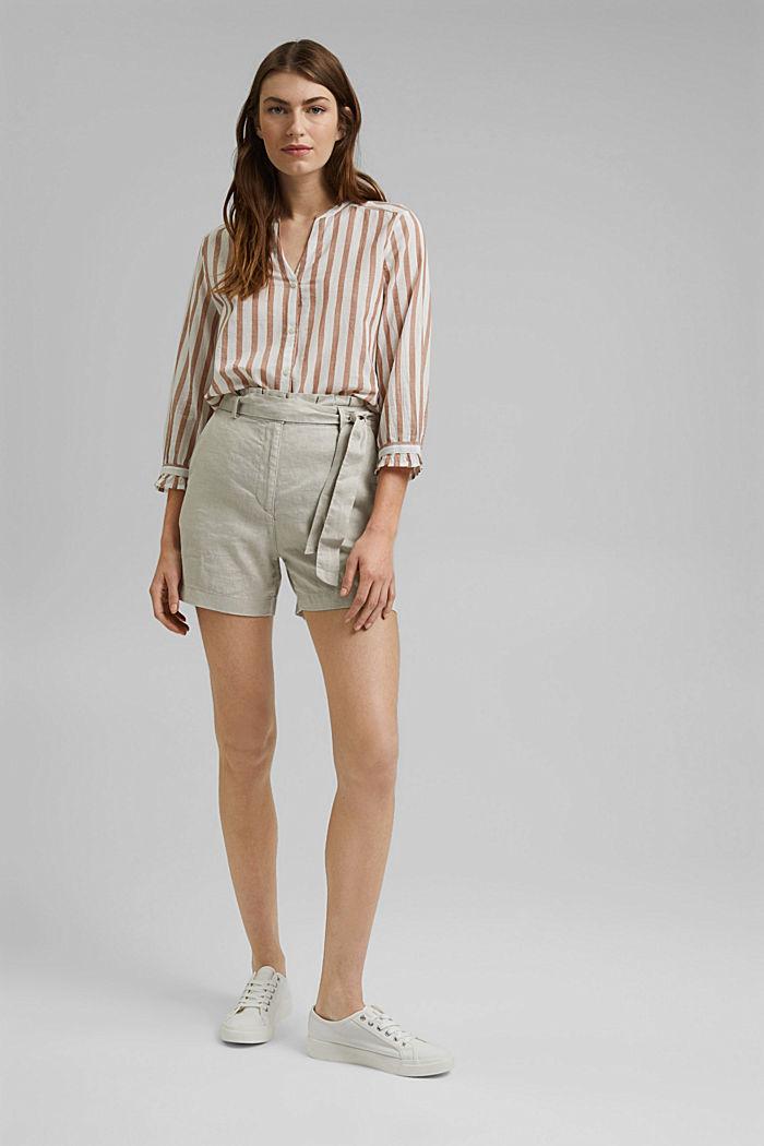 Lightweight striped blouse, 100% organic cotton, CARAMEL, detail image number 1